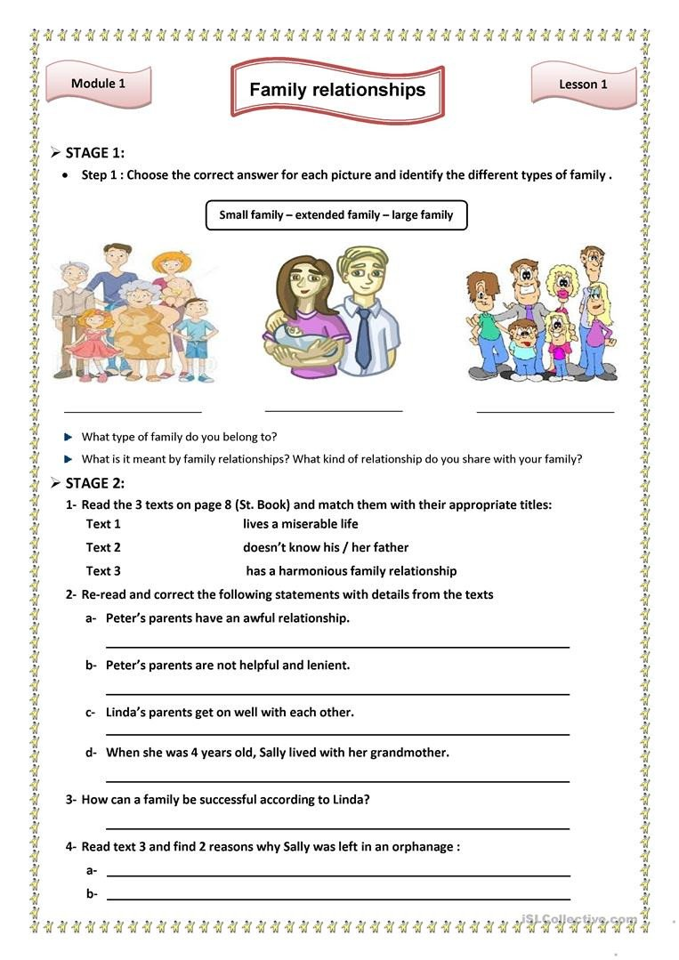 Healthy Family Relationships Worksheets Lesson1 Family Relationships English Esl Worksheets for