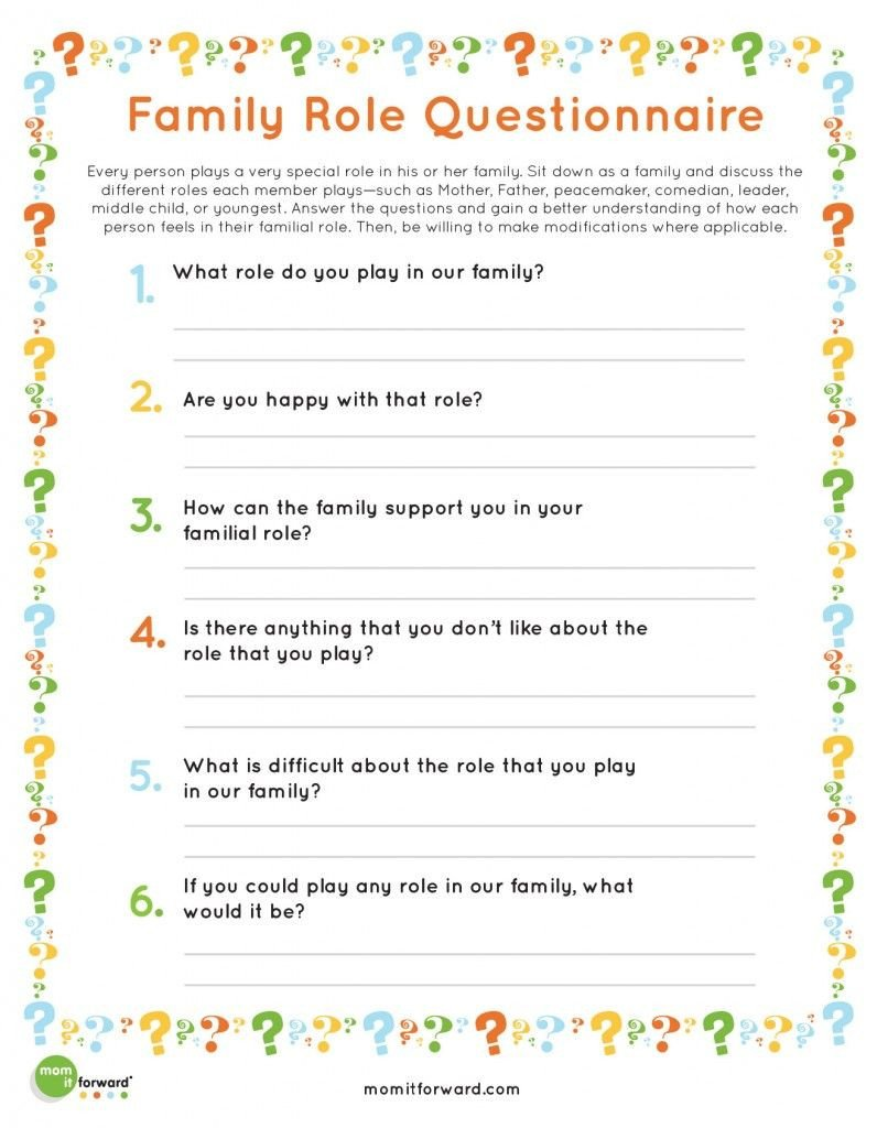 Healthy Family Relationships Worksheets Printable Family Roles