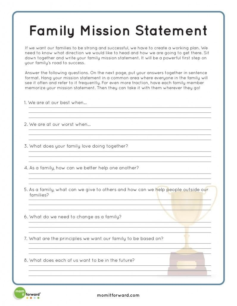 Healthy Family Relationships Worksheets Strengthening Family Creating A Family Mission Statement