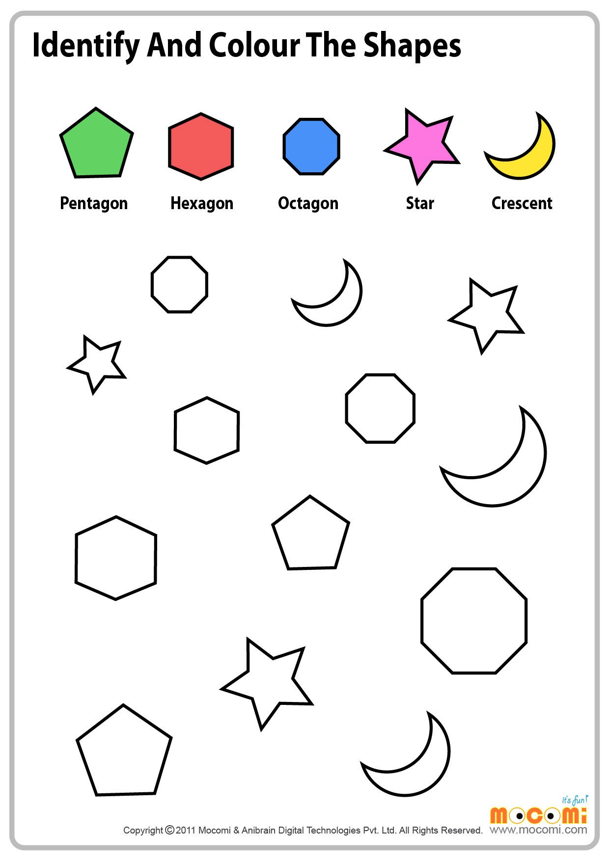 Hexagon Worksheet for Kindergarten Colour Similar Shapes Maths Worksheet for Kids Mo I
