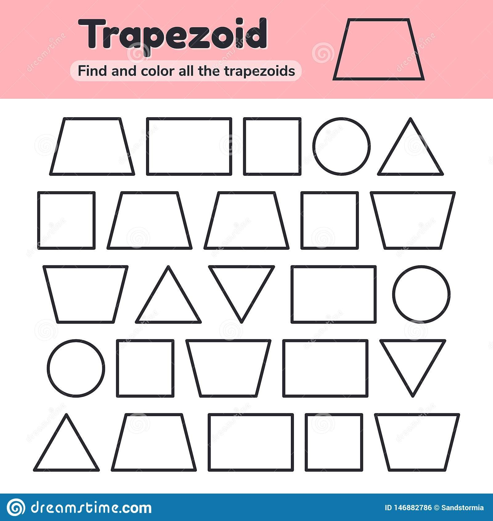 educational worksheet kids kindergarten preschool school age geometric shapes rectangle square circle triangle vector