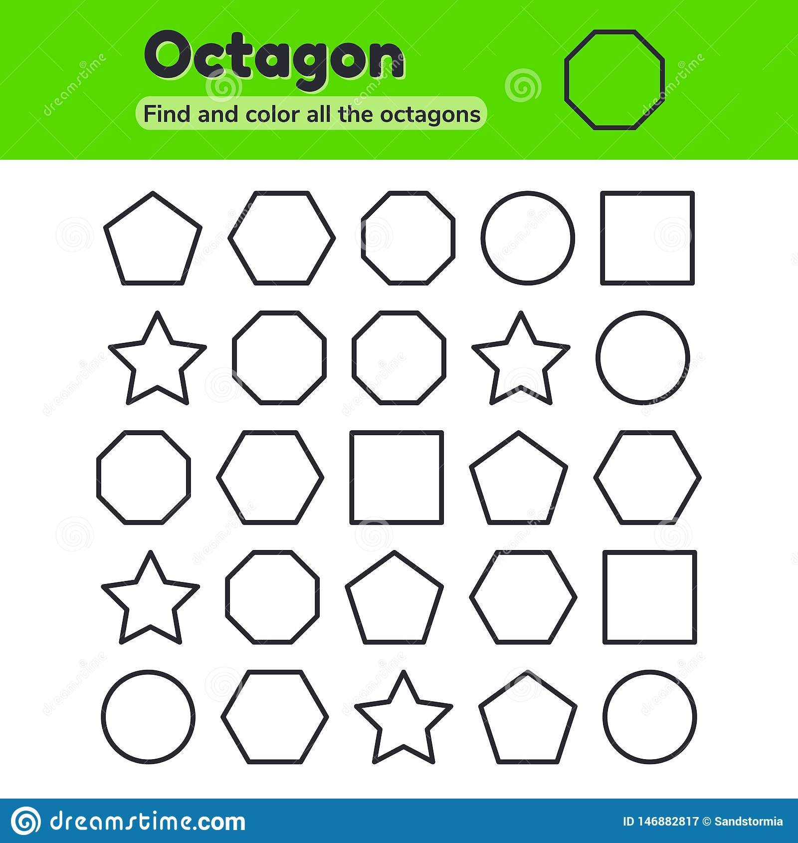 educational worksheet kids kindergarten preschool school age geometric shapes pentagon octagon hexagon circle vector