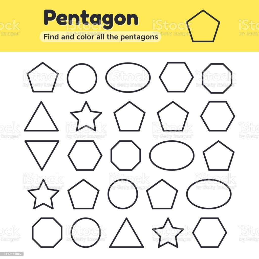 Hexagon Worksheet for Kindergarten Educational Worksheet for Kids Kindergarten Preschool and School Age Geometric Shapes Pentagon Octagon Hexagon Circle Oval Triangle Star Find and