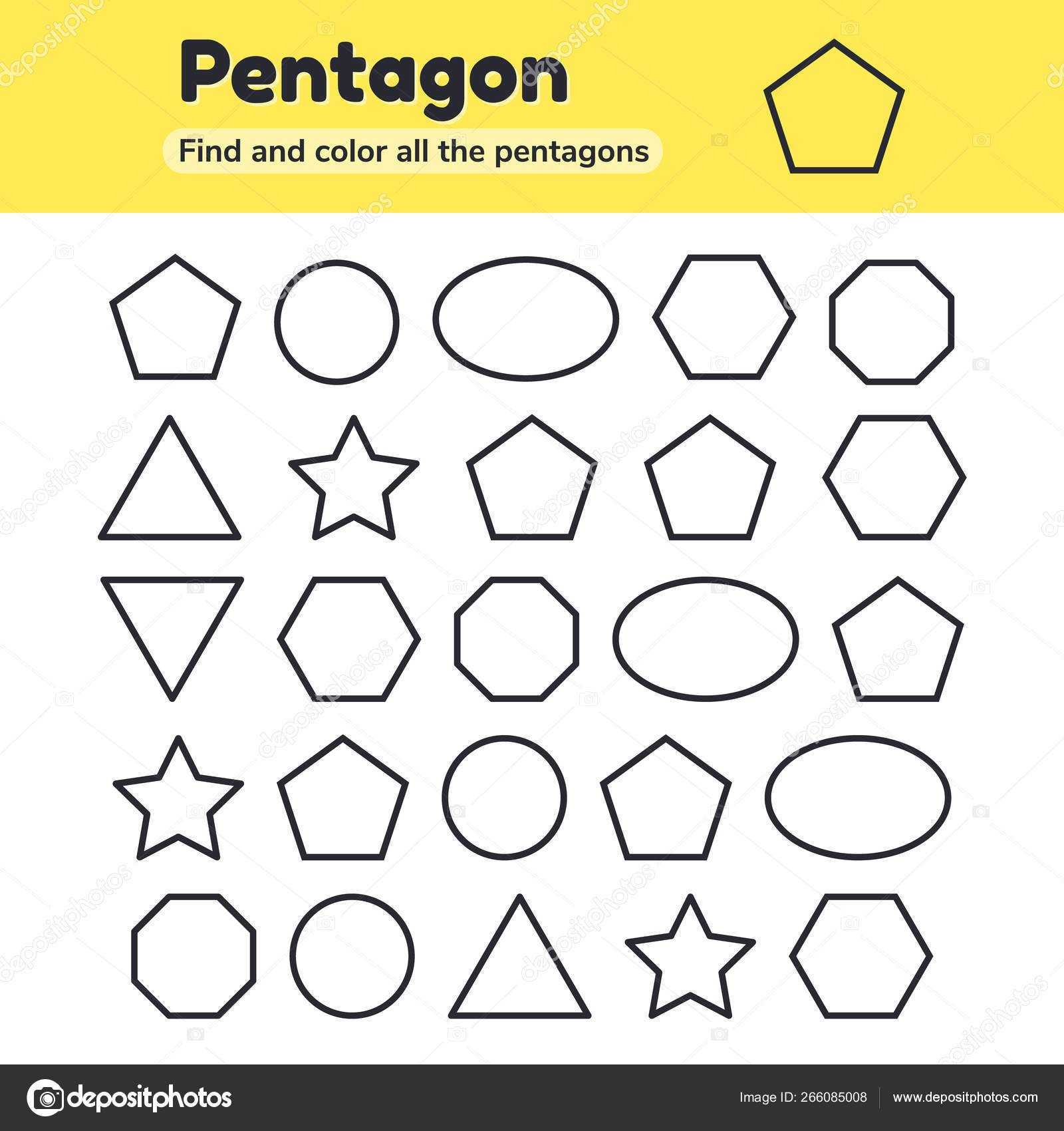 Hexagon Worksheet for Kindergarten Educational Worksheet for Kids Kindergarten Preschool and School Age Geometric Shapes Pentagon Octagon Hexagon Circle Oval Triangle Star