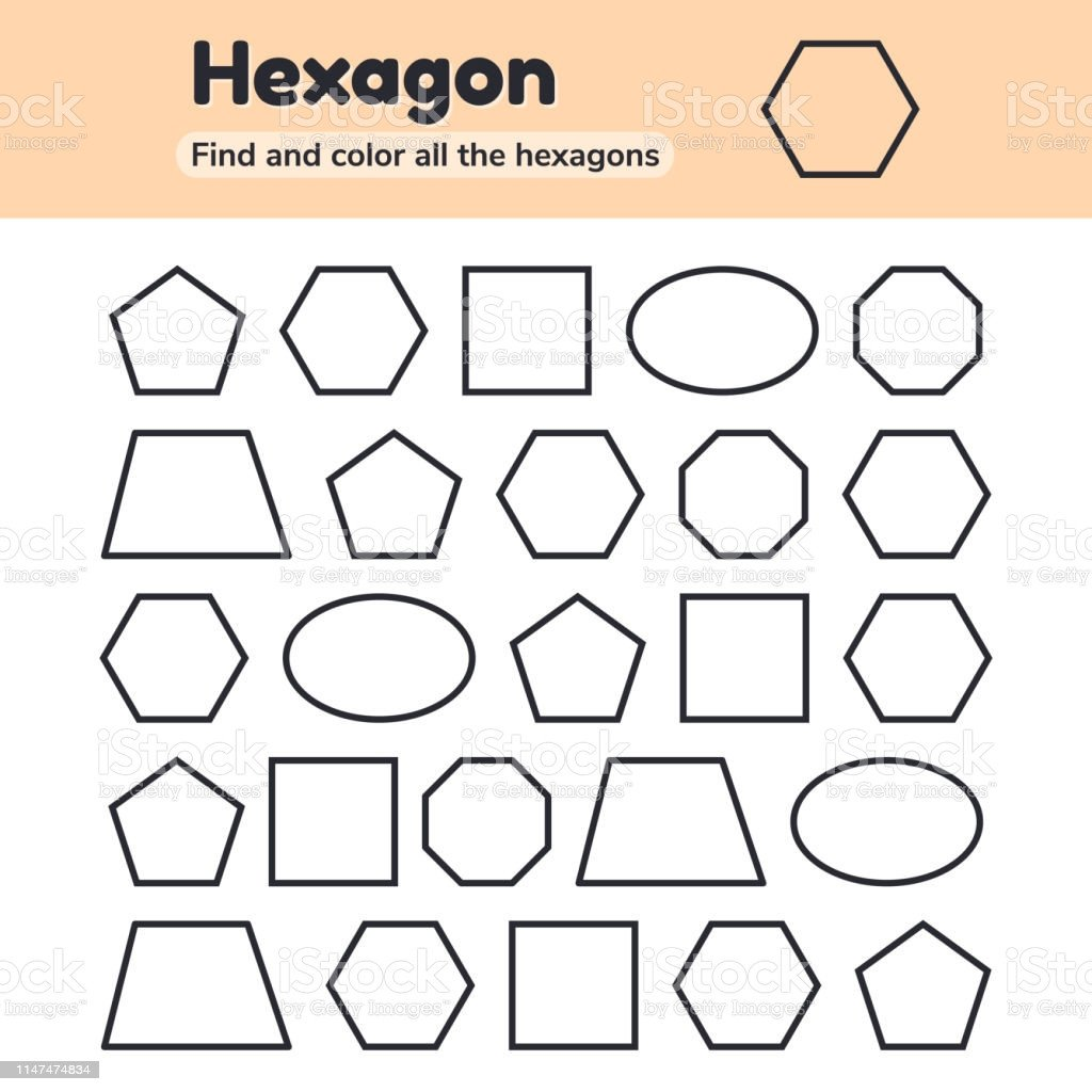 Hexagon Worksheet for Kindergarten Educational Worksheet for Kids Kindergarten Preschool and School Age Geometric Shapes Pentagon Octagon Hexagon Trapezoid Oval Square Find and Color
