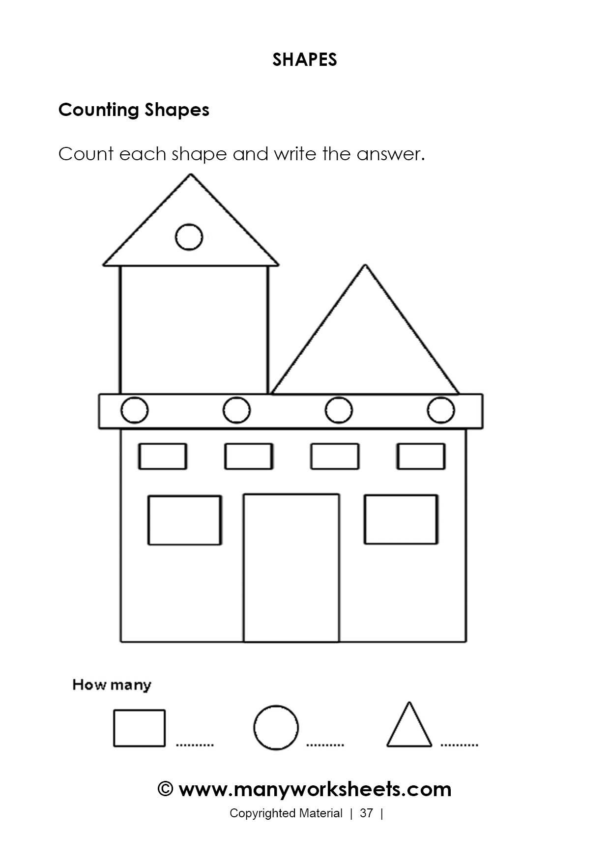 Hexagon Worksheet for Kindergarten Kindergarten Counting Shapes Worksheets