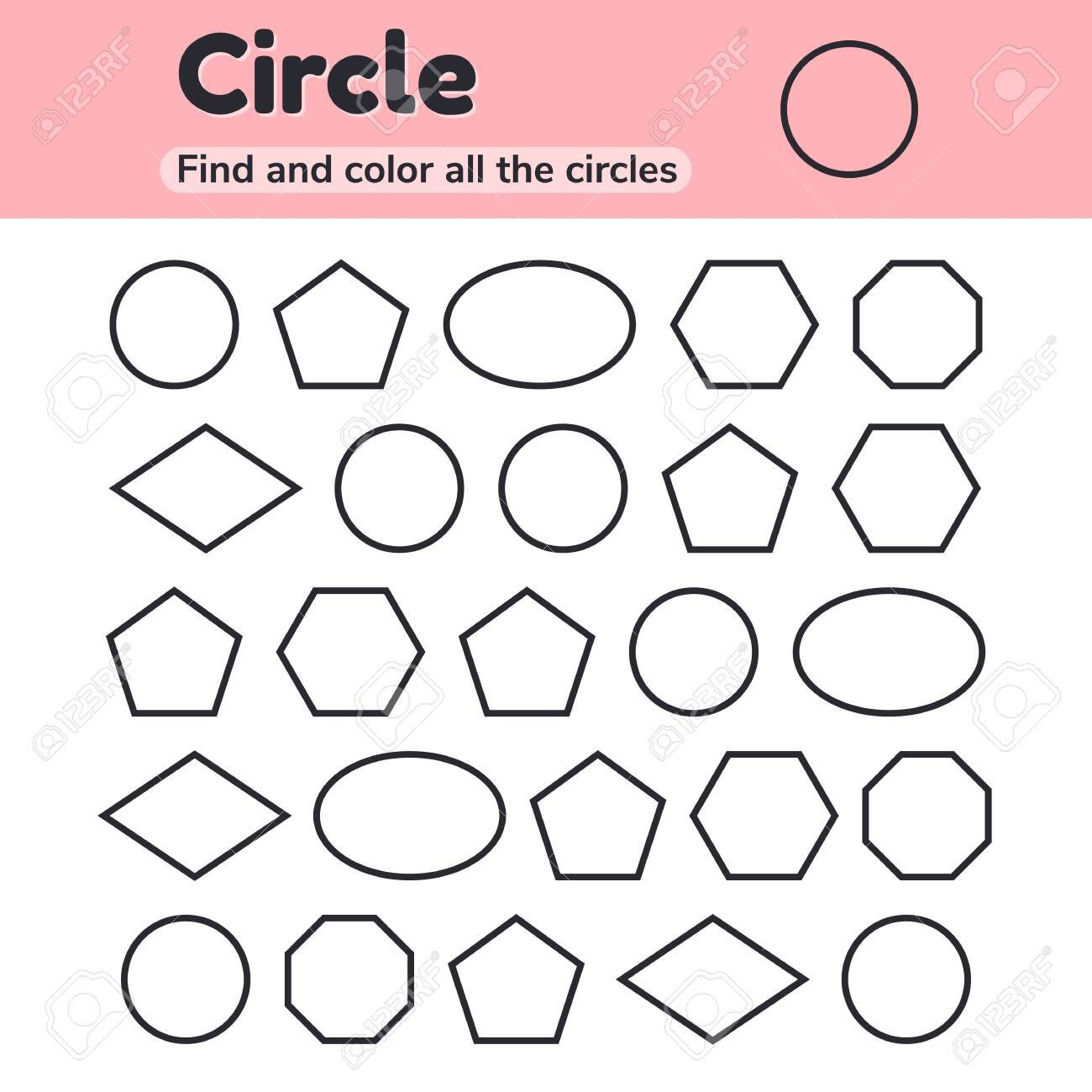 Hexagon Worksheet for Kindergarten Vector Illustration Educational Worksheet for Kids Kindergarten