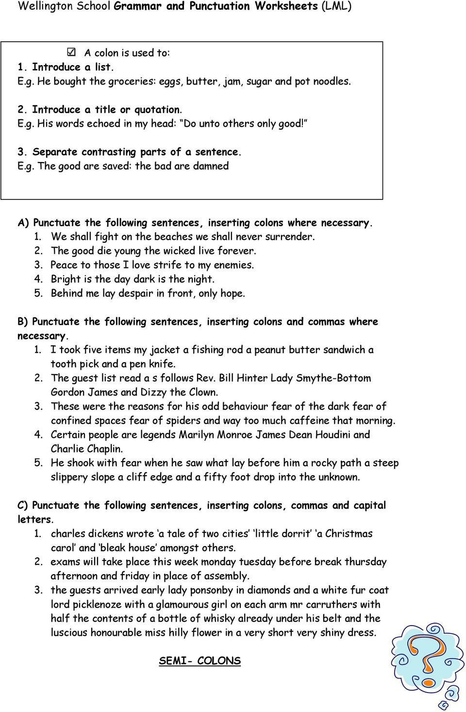 High School Punctuation Worksheets Grammar and Punctuation Worksheets Pdf Free Download