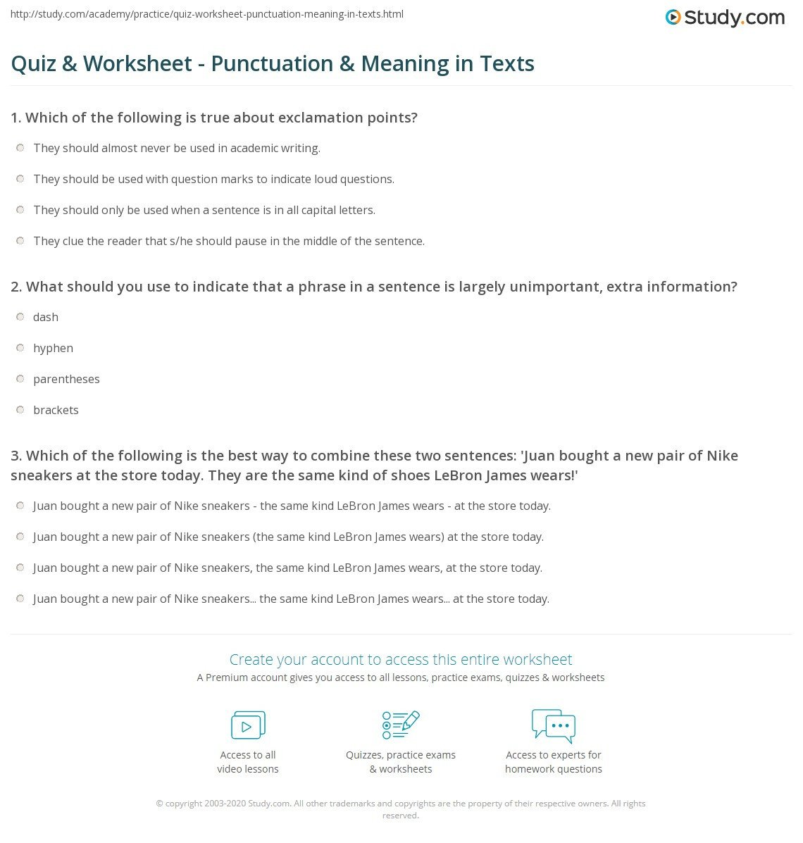 High School Punctuation Worksheets Quiz & Worksheet Punctuation & Meaning In Texts