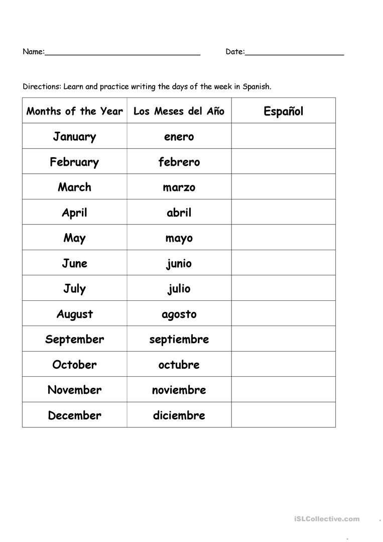 High School Spanish Worksheets Months Of the Year In Spanish English Esl Worksheets for