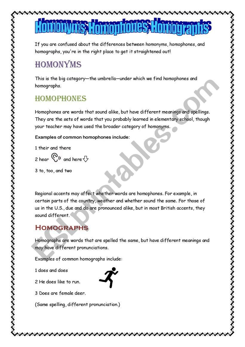 Homographs and Homophones Worksheets Differentiate Homonyms Homophones Homographs Esl
