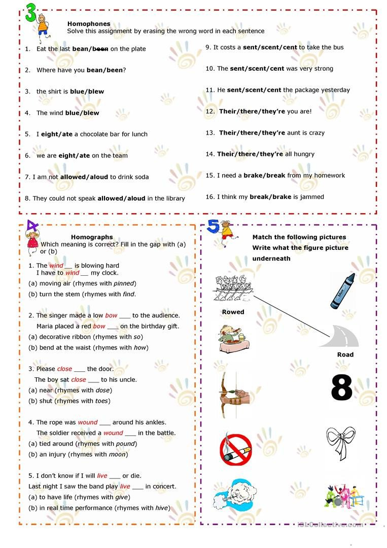 Homographs and Homophones Worksheets Homonyms Homophones Homographs English Esl Worksheets
