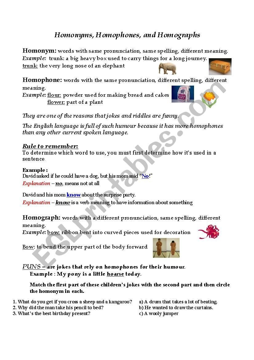 Homographs and Homophones Worksheets Homonyms Homophones Homographs Esl Worksheet by Cm Albert