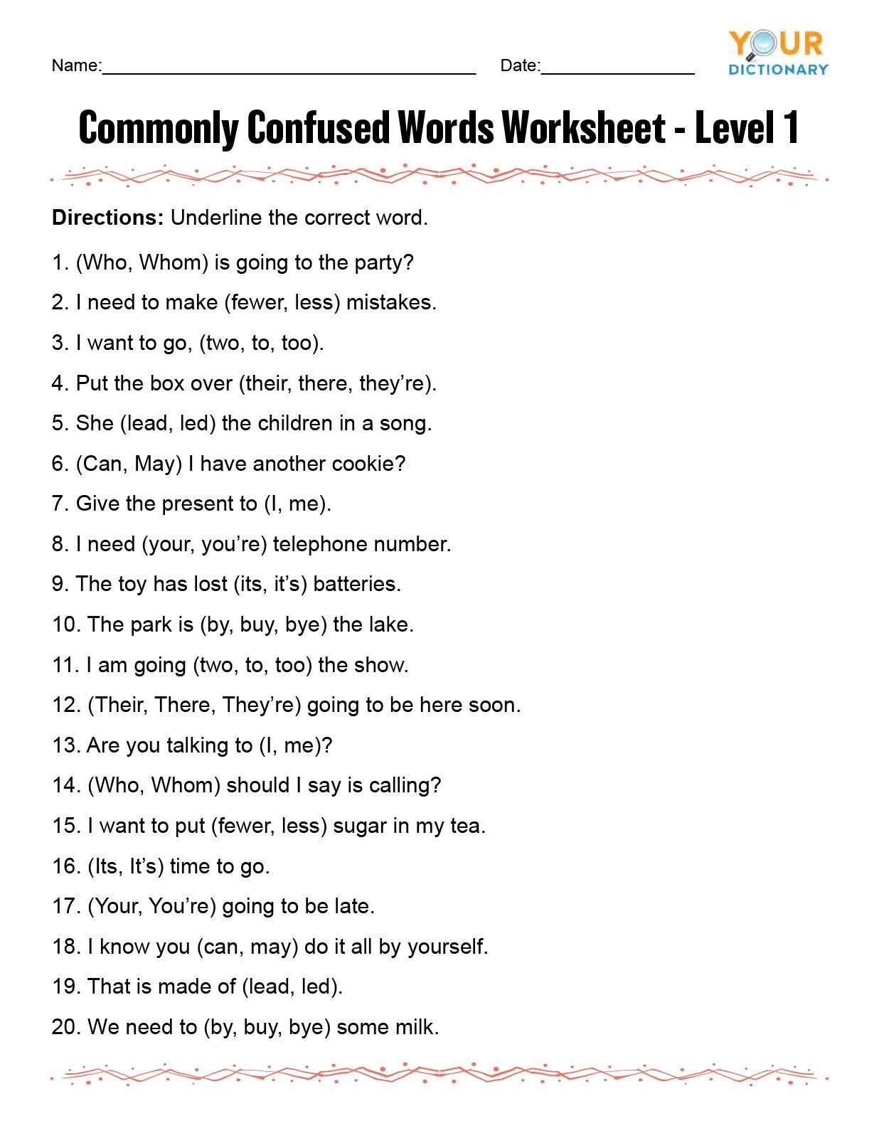 Homonyms Worksheet Pdf Monly Confused Words Worksheet