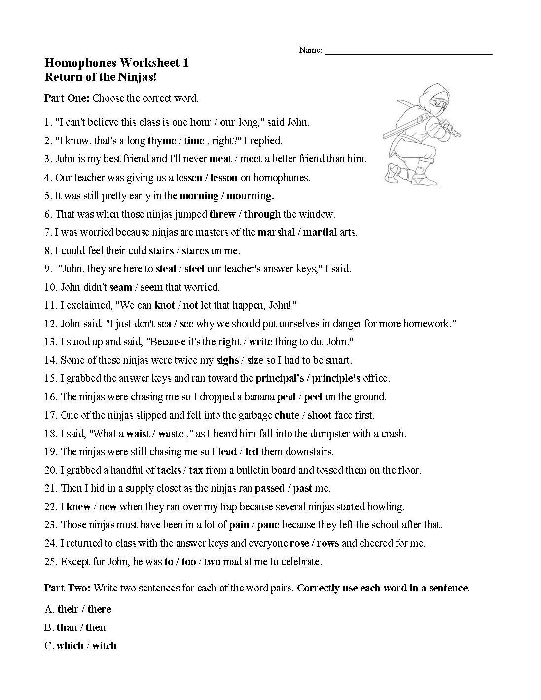 Homophone Worksheets 5th Grade Homophones Worksheet English