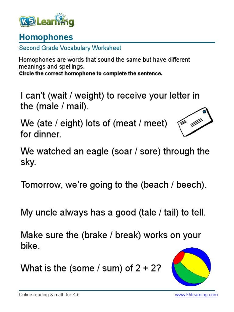 Homophones Worksheets for Grade 2 2nd Grade Homophones 1