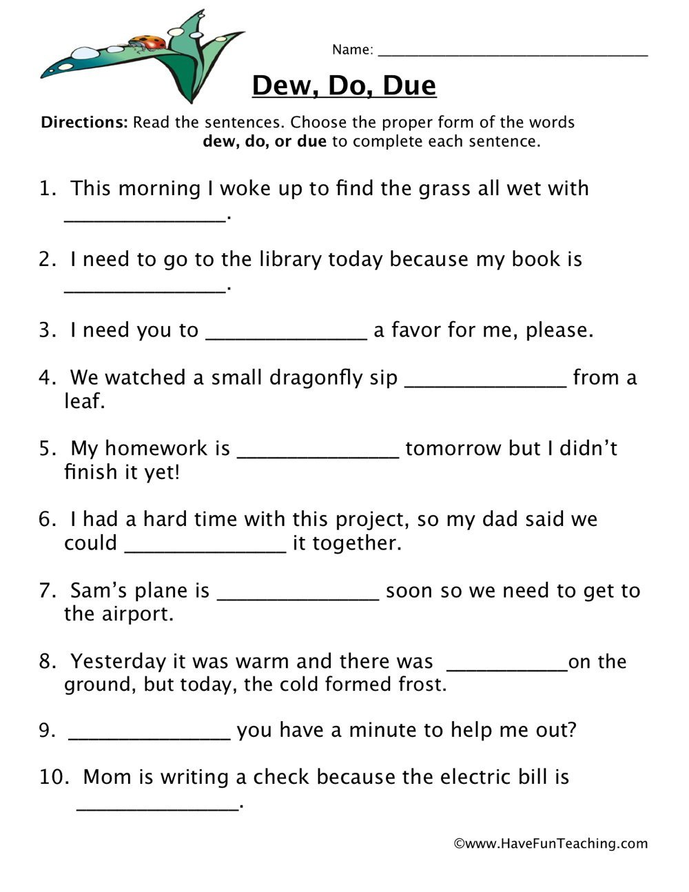 Homophones Worksheets for Grade 2 Dew Do Due Homophones Worksheet