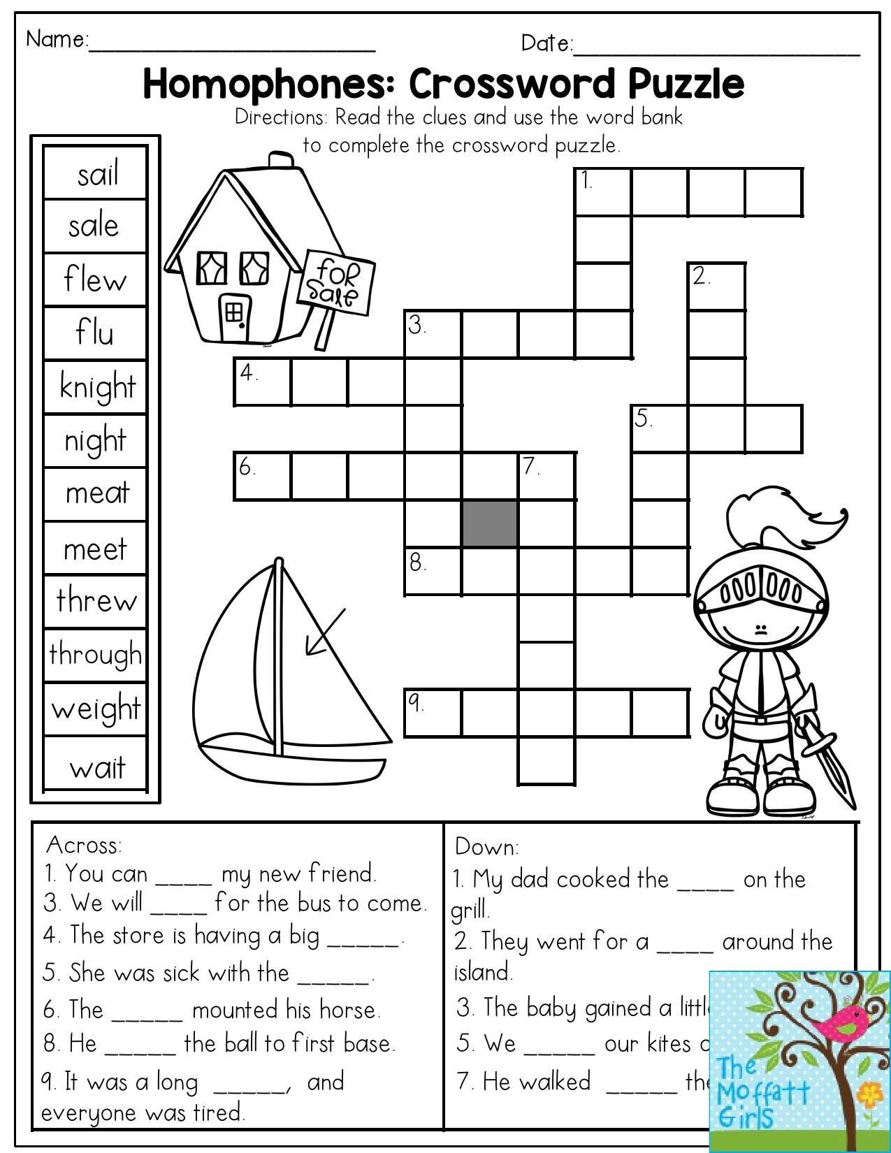 Homophones Worksheets for Grade 2 Homophones Crossword Puzzle Read the Clues and Use the
