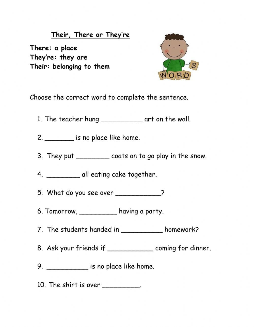 Homophones Worksheets for Grade 2 there their or they Re Interactive Worksheet