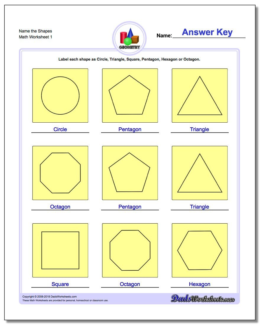 Identifying 2d Shapes Worksheets Basic Shapes