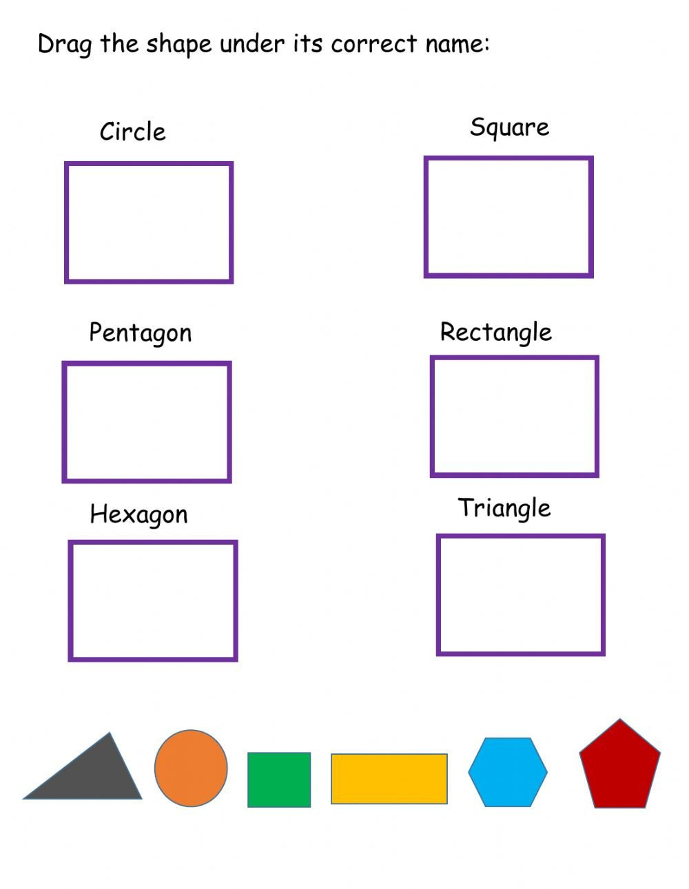 Identifying 2d Shapes Worksheets Shapes Interactive Worksheet