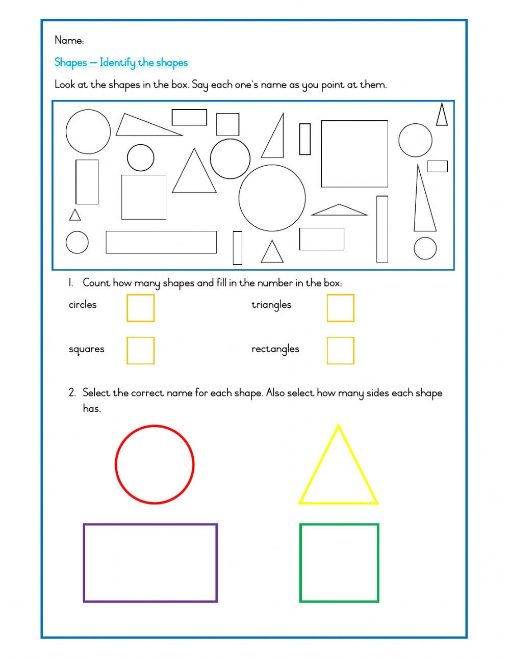 Identifying 2d Shapes Worksheets Shapes Names and Sides Interactive Worksheet