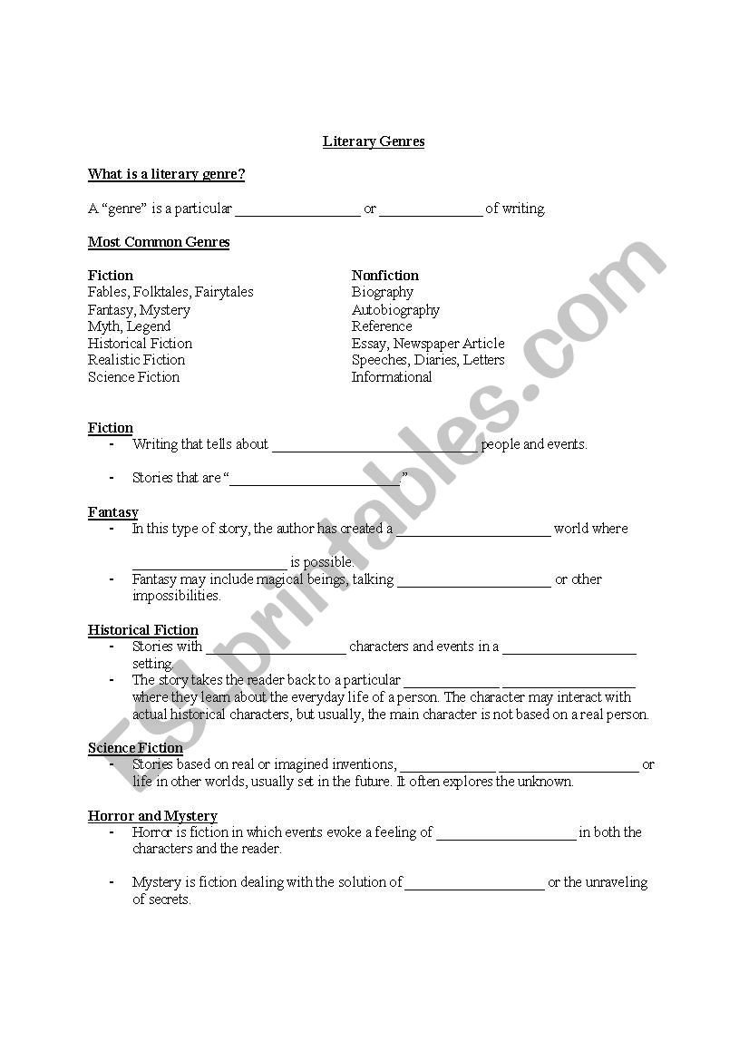Identifying Genre Worksheets Literary Genres Cloze Notes Esl Worksheet by Jpanton