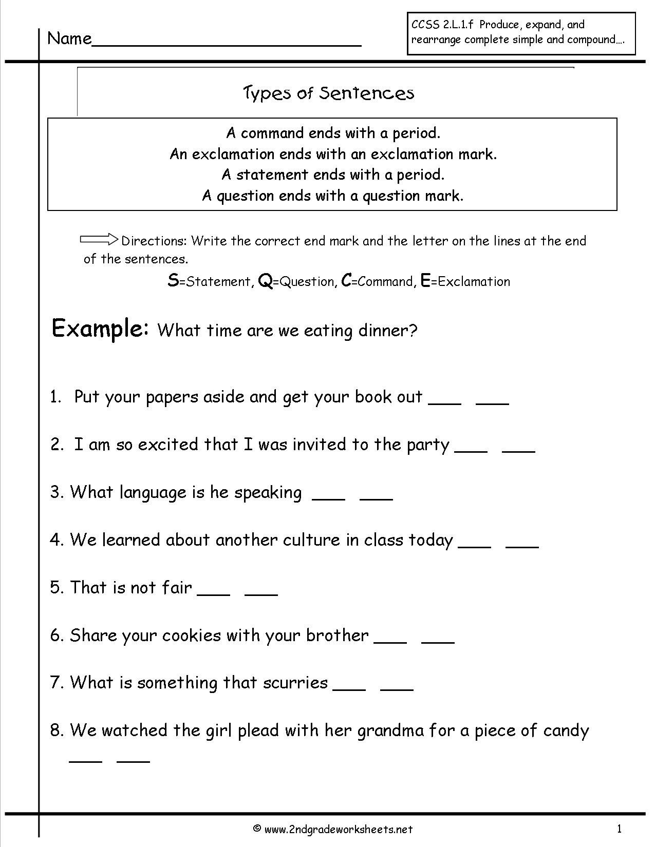 Improving Sentence Structure Worksheets Second Grade Sentences Worksheets Ccss 4th Sentence