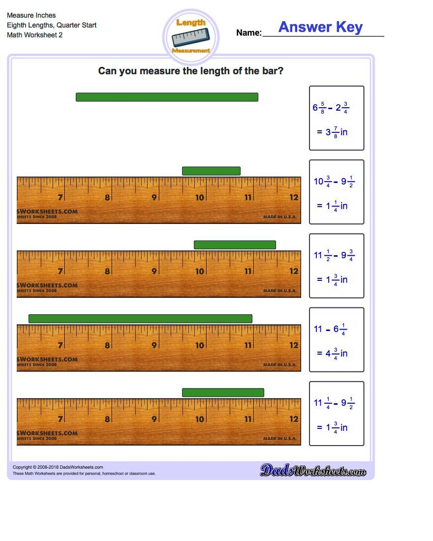 Inches Measurement Worksheets Measure Inches From Quarter