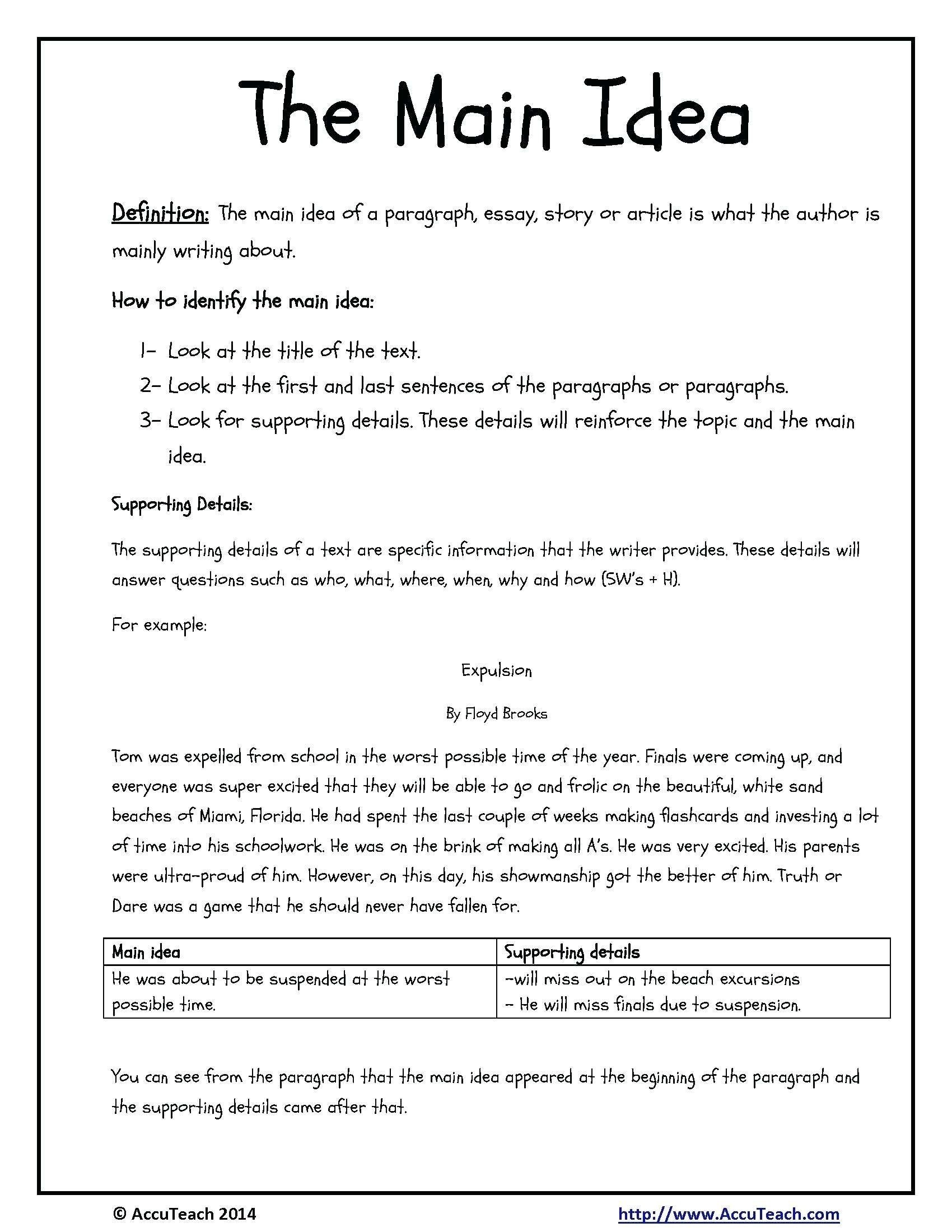 main idea worksheets 4th grade pdf