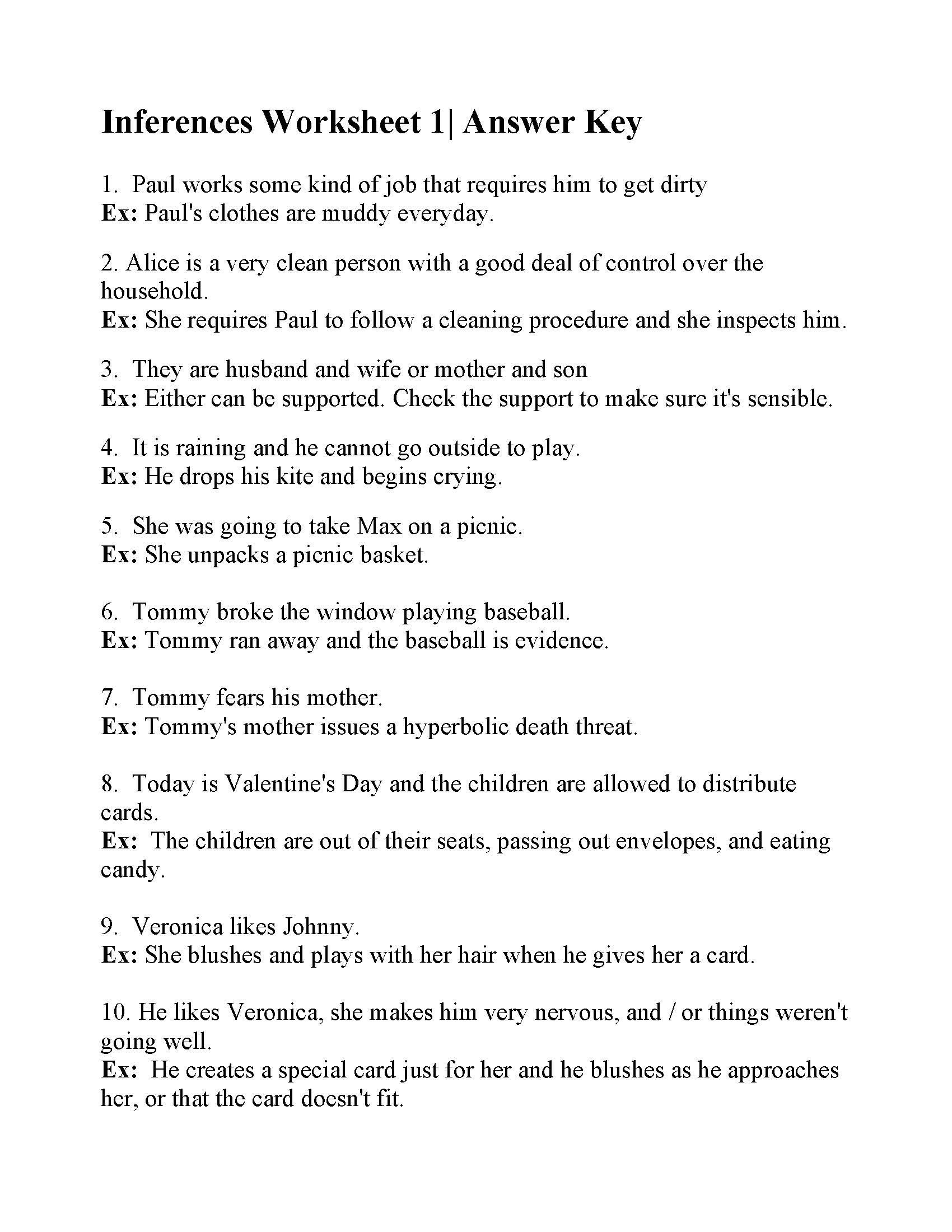 Inference Worksheets for 4th Grade Inferences Worksheet Answers Practice Making Worksheets My