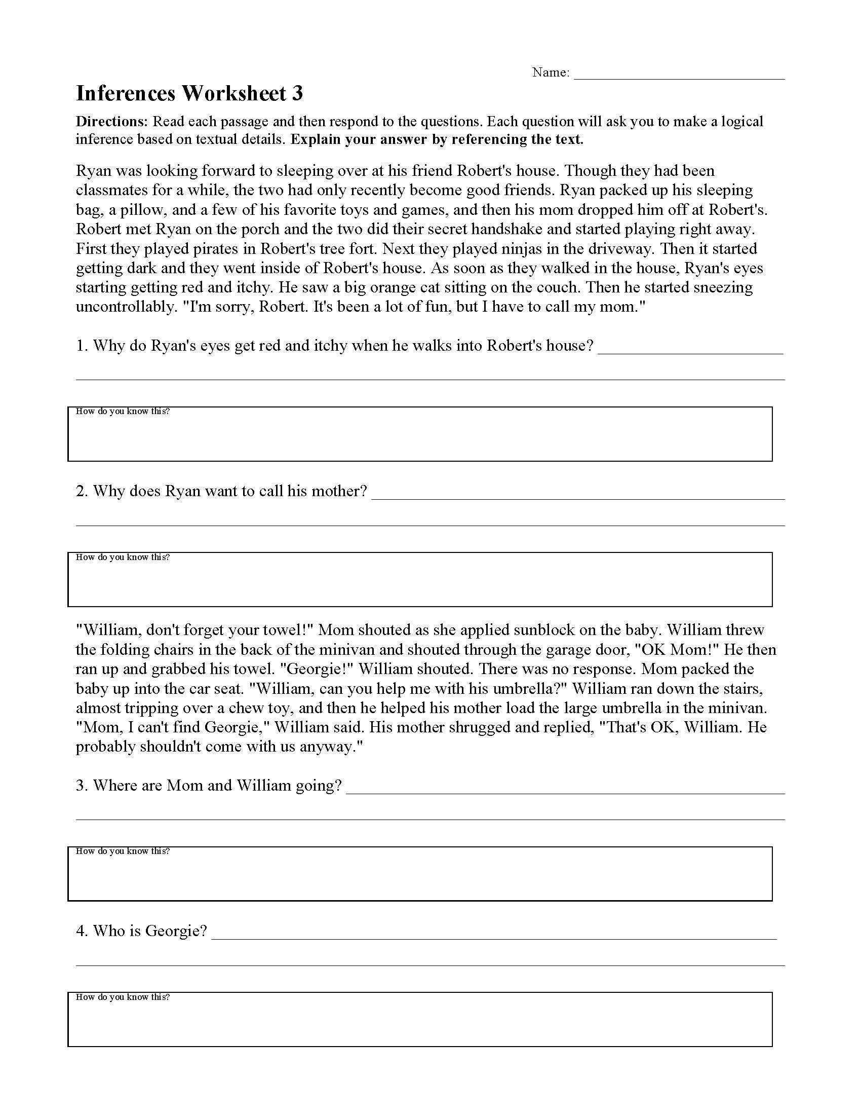 Inference Worksheets for 4th Grade Inferences Worksheets