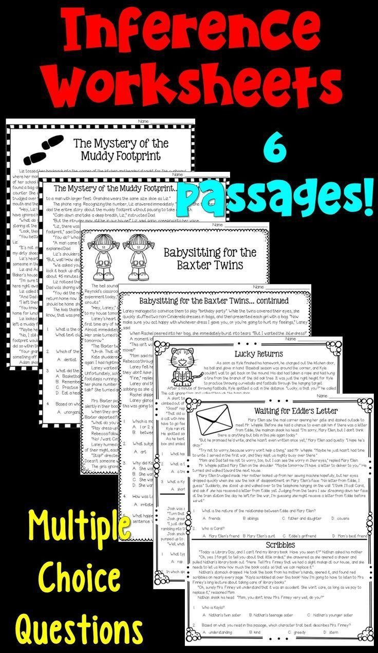Inference Worksheets for 4th Grade Inferences Worksheets Pdf and Digital