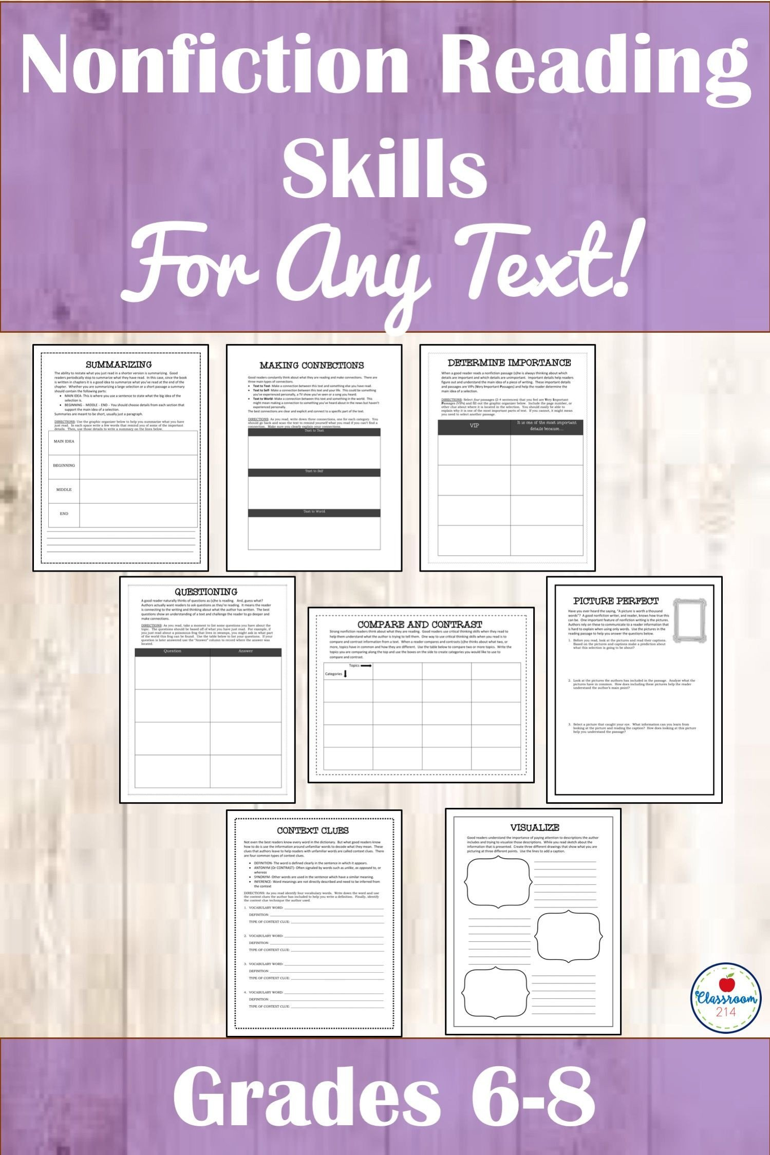 Informational Text Worksheets Middle School Mon Core Informational Texts and Nonfiction Reading