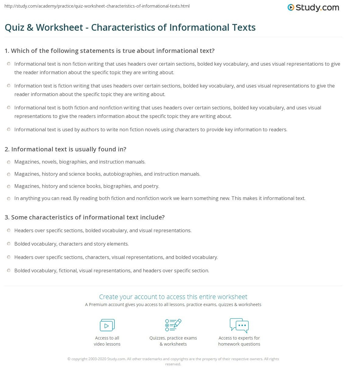 quiz worksheet characteristics of informational texts