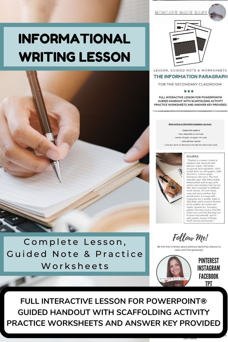 Informational Text Worksheets Middle School Writing the Information Paragraph Lesson Handouts