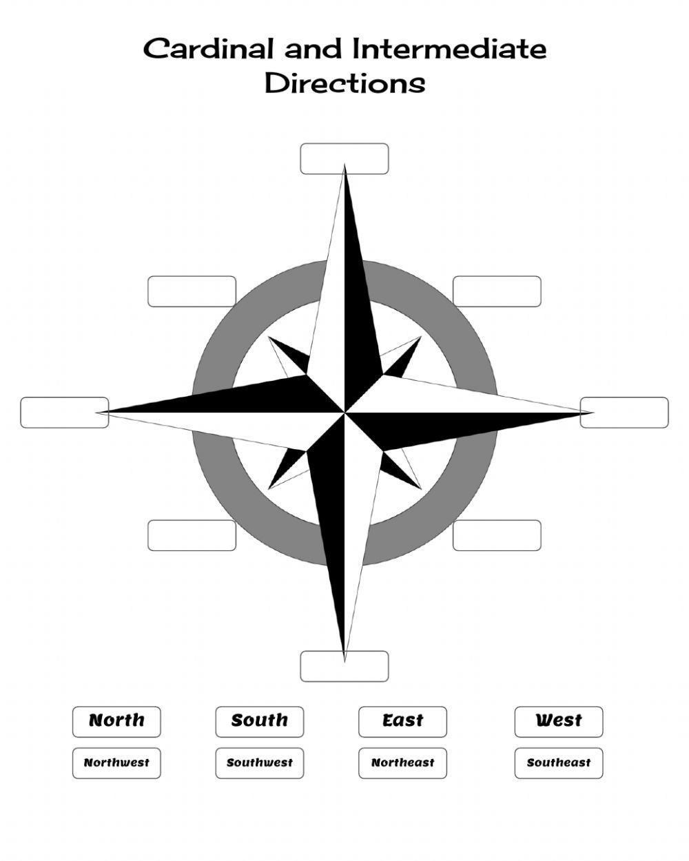 Intermediate Directions Worksheet Cardinal and Intermediate Directions Interactive Worksheet