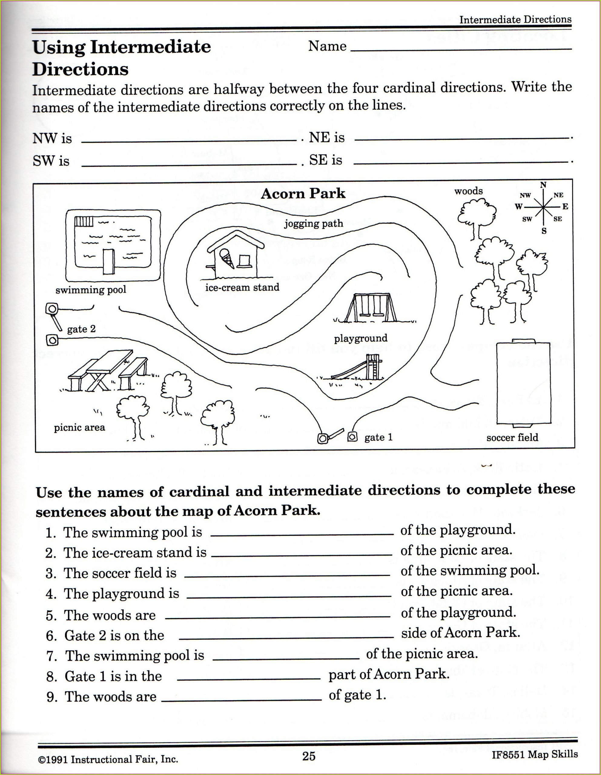 Intermediate Directions Worksheet Cardinal Direction Worksheet
