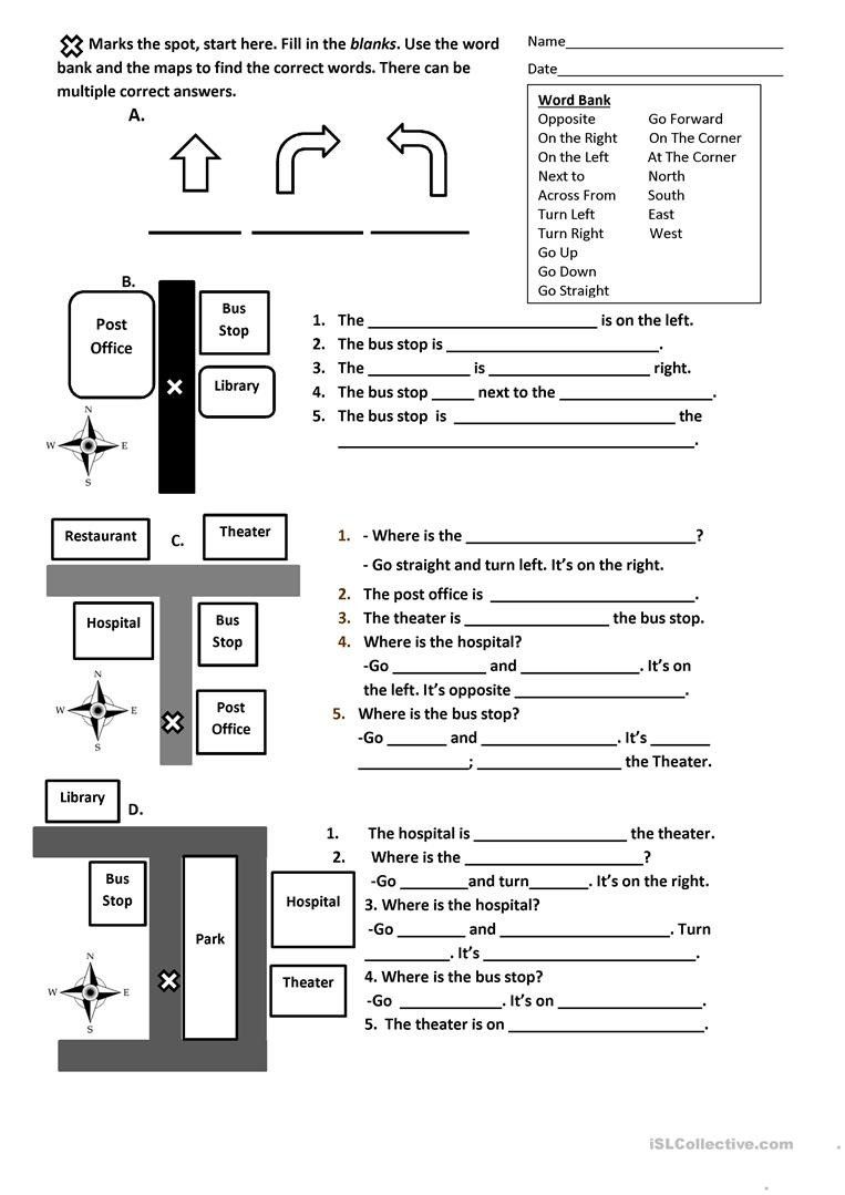 Intermediate Directions Worksheet Directions Prepositions and Maps Worksheet English Esl
