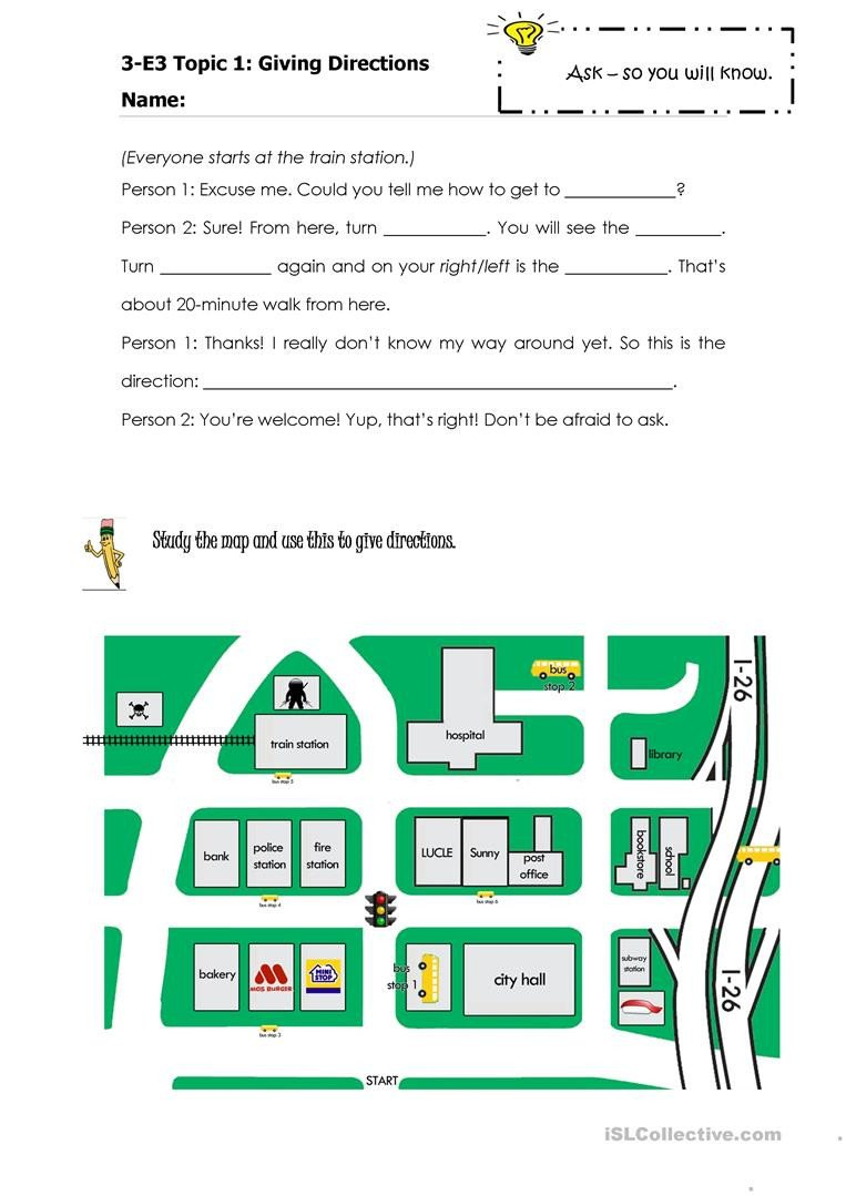 Intermediate Directions Worksheet Giving Directions English Esl Worksheets for Distance