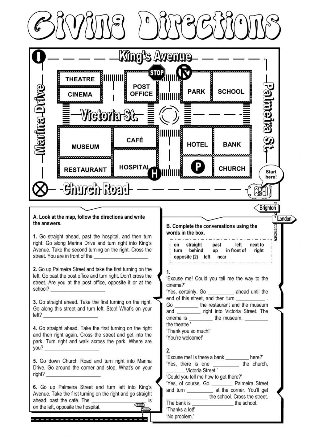 Intermediate Directions Worksheet Giving Directions Worksheet