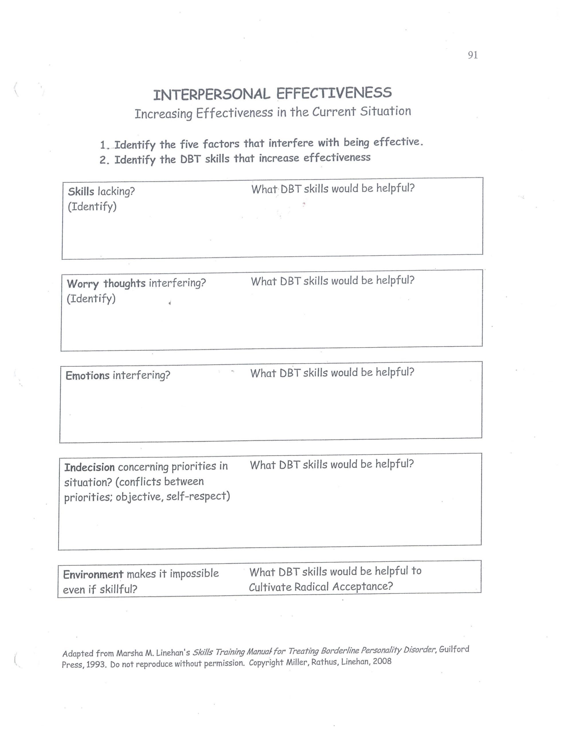 Interpersonal Communication Worksheets Dbt Interpersonal Effectiveness Increasing Effectiveness