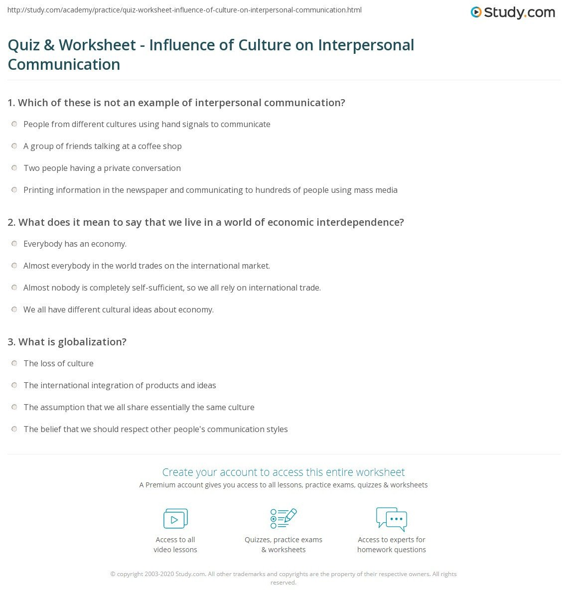 quiz worksheet influence of culture on interpersonal munication