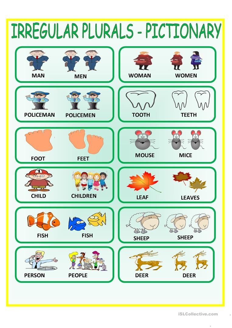 Irregular Plurals Worksheet Free Irregular Plurals Pictionary Worksheet Free Esl Printable