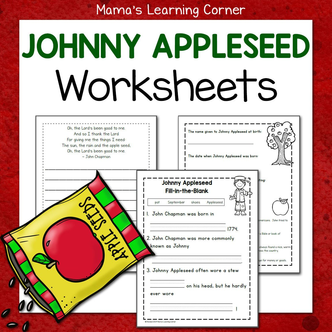 Johnny Appleseed Worksheets 8x8