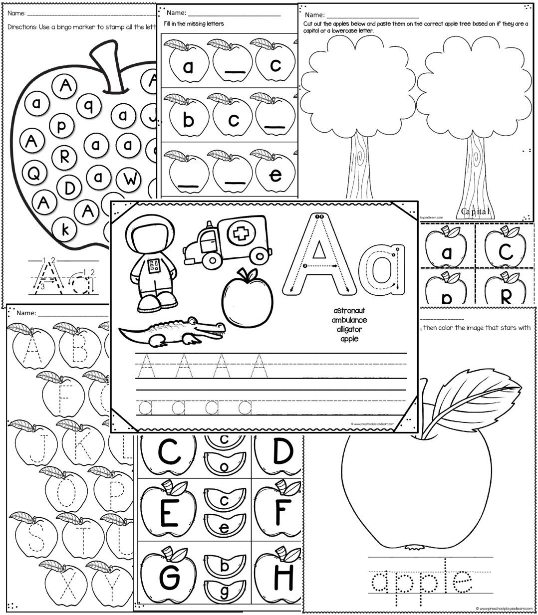 Johnny Appleseed Worksheets for Kindergarten Letter A