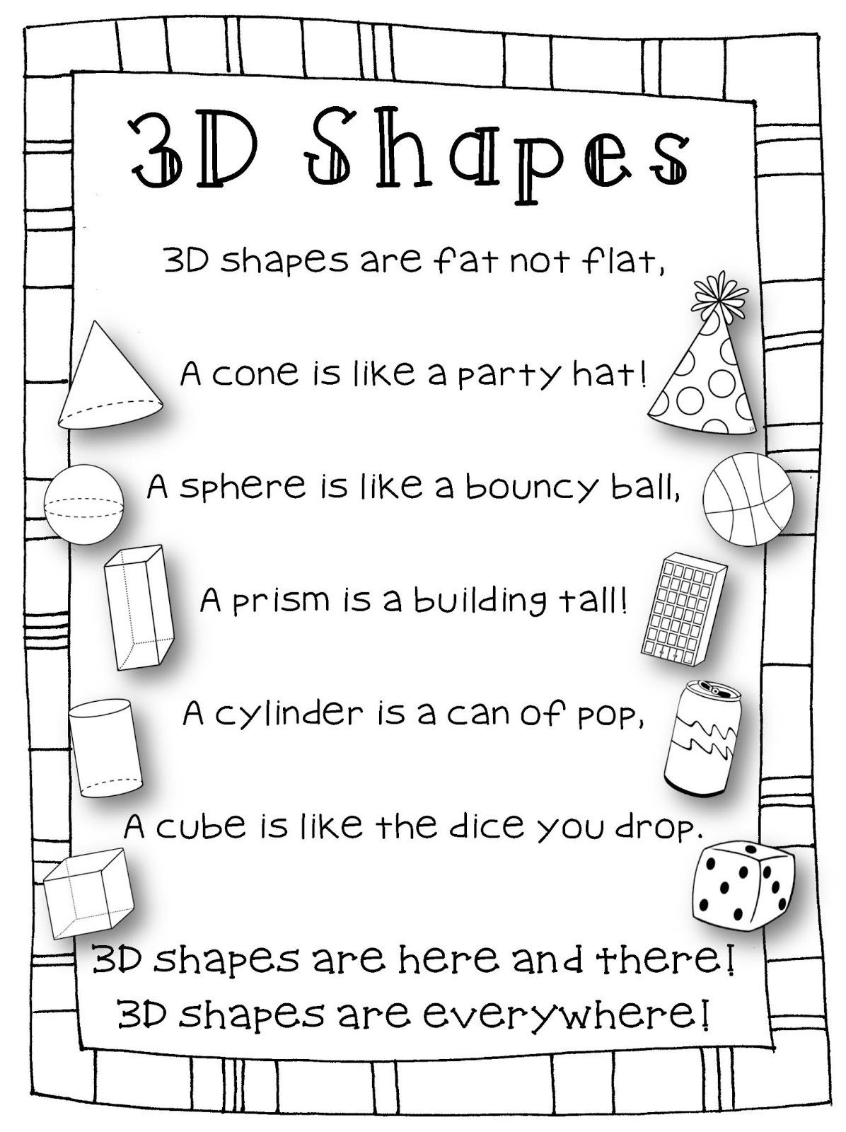 Kindergarten 3d Shape Worksheets 3 D Shapes Worksheets for Kindergarten