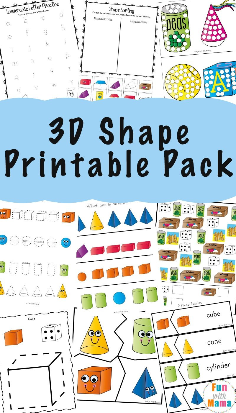 Kindergarten 3d Shape Worksheets 3d Shape Worksheets Fun with Mama