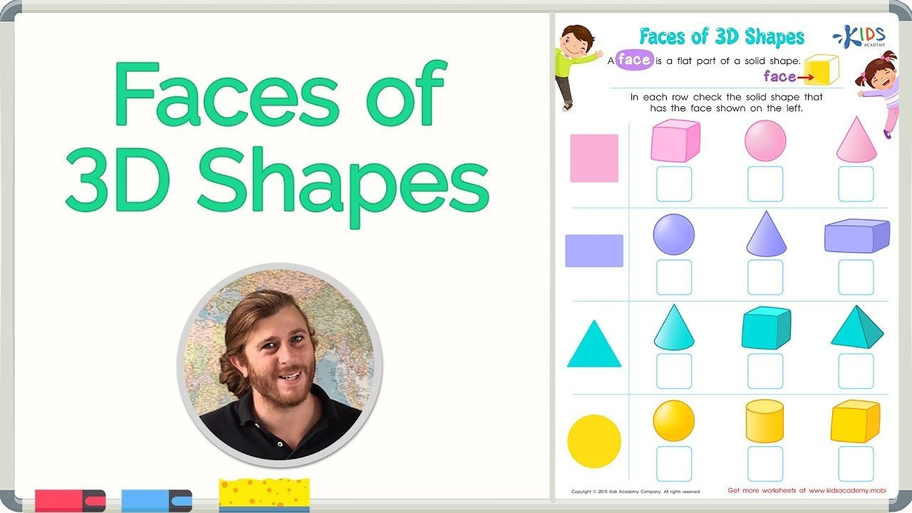 Kindergarten 3d Shape Worksheets Faces Of 3d Shapes Geometry Math for 2nd Grade