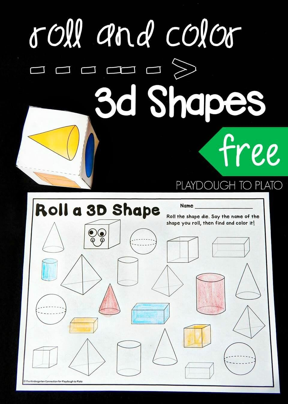 Kindergarten 3d Shape Worksheets Roll and Color 3d Shapes Playdough to Plato